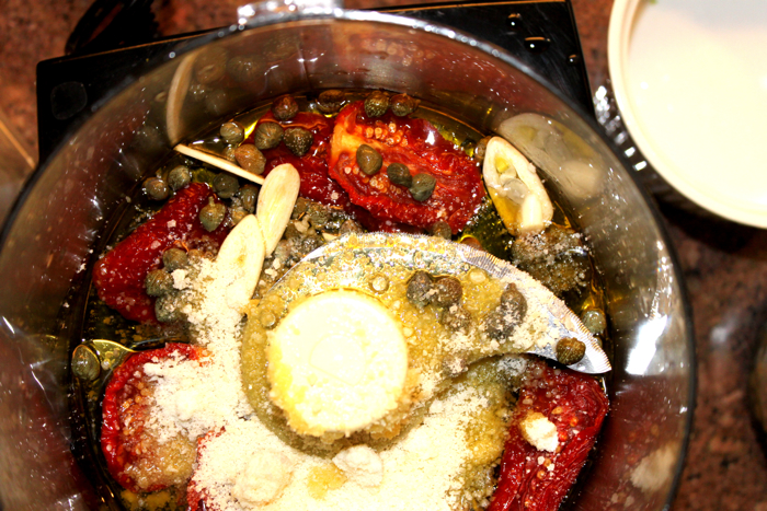 Ina Garten's sun-dried tomato dressing. I threw sundried tomatoes ...