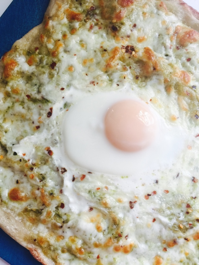 Garlic scape pesto pizza with egg